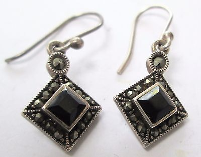Pair fine vintage sterling silver, marcasite & French jet pendant earrings