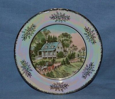 "Vintage Beautiful Plate Currier & Ives Pattern ""summertime"" Made In Japan"
