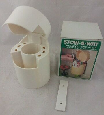 Tooth brush cup holder Bathroom Organizer Stow A Way vintage new boxed 70s wall