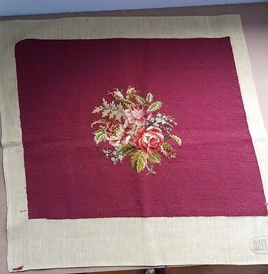 VINTAGE PRE-WORKED NEEDLEPOINT DRITZ CANVAS- TAPESTRY ROSES Made in Madeira