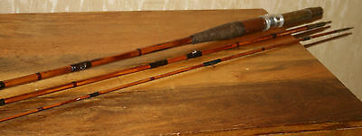 Vintage 3 Piece 12Ft Cane Fishing  Rod Brass Fitings