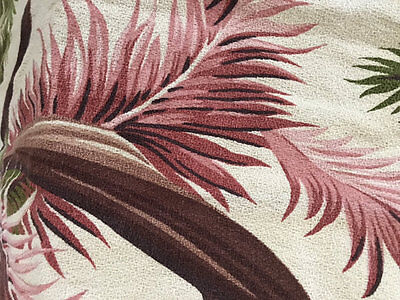 """Vintage Thick, Nubby Barkcloth Curtain Panel ~ 4 avail~Pink & Brown Tropical 86"""""""
