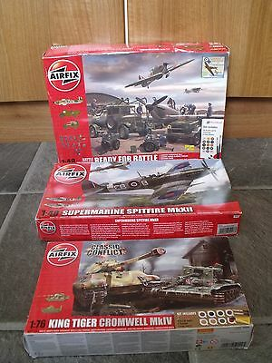 3 airfix model kits 1/48 scale Battle of Britain Supermarine Spitfire 1/76 scale