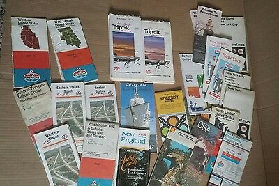 Vintage driving maps lot of 25 from 70's