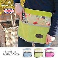 New BRADLEYS UK TANNERY Green Suede Leather Floral Gardening Apron DIY Tool Belt