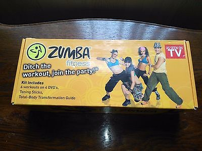 Boxed ZUMBA Fitness DVD Exercise Kit Includes Toning Sticks FREE P+P