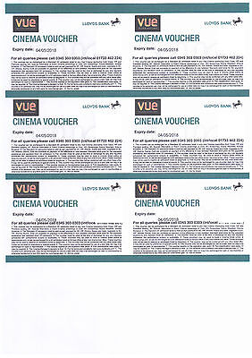 6 (Six) Vue Cinema Tickets / Vouchers (Club Lloyds) - Expiry 4th May 2018