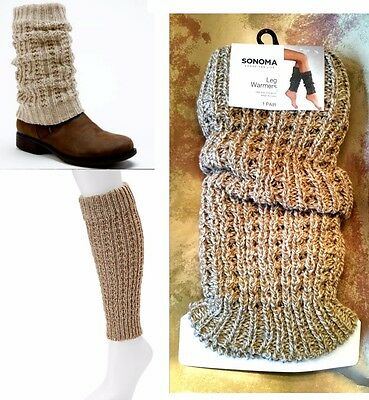 Sonoma Pointelle Cable Knit Leg Warmers Socks Women's Boot Sock-Ivory/Tan NEW$18