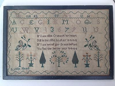 Vintage Embroidered Sampler Done By Lydia Head