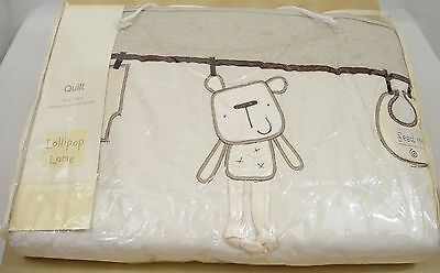 Out To Dry Cot Quilt - Lollipop Lane - Teddy - Baby Nursery Mocha / Cream 4 Tog
