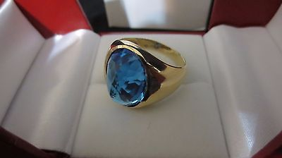 Mens Blue Topaz Ring 10K Solid Yellow Gold Size 11 With Box