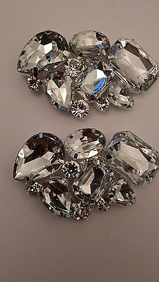 Rhinestone Crystal Wedding Bridal Diamante Crystal Sparkle Shoe Clips Pair