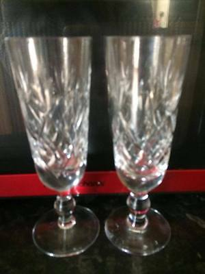 Pair Royal BRIERLEY Crystal small champagne fludes i think braemer