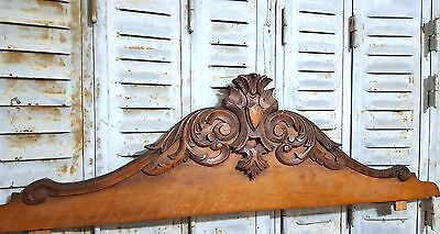 Carved Wood Pediment Huge Antique French Coat Of Arms Salvaged Carving Crest
