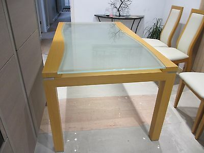 Solid Beech Effect & Glass Dining Table and 4 Cream Leather Chairs