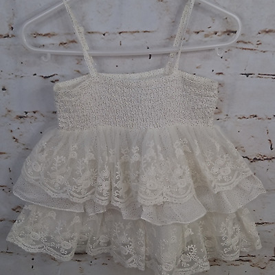 Zara Kids Ivory Thin Strap Lace Tiers Tank Top Shirt Toddler Girls Sz 3-4 Years
