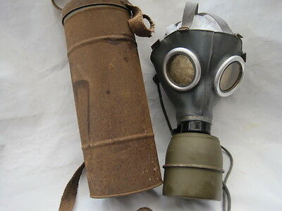 French army world war two gas mask & container