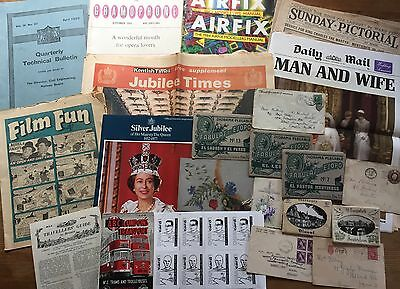 JOB LOT OF EPHEMERA from 1920's to 1980's inc ROYALTY TRANSPORT PAPERS DIORAMAS