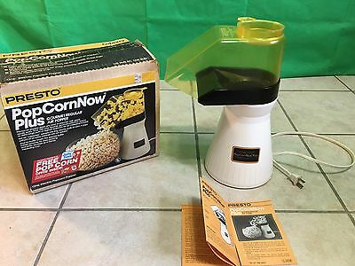 Vintage Presto Popcorn Now Plus Hot Air Popper with Box & Manual