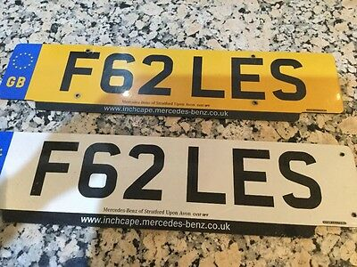 F62 LES. Cherished Private Registration Number on Retention