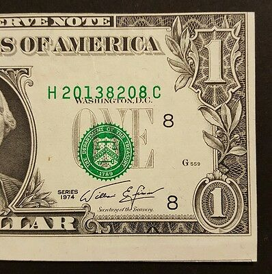 (ERROR) 1974 $1 Note with Misaligned Printing