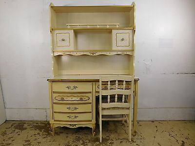 Chic Vintage Shabby Decorated French Vanity Desk Bookcase & Chair Set Dixie Era