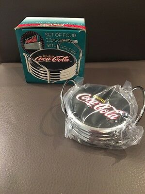 Coca-Cola Set Of 4 Coasters With Holder *new In Box*