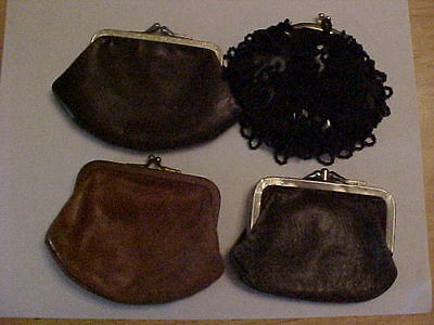 Lot Of 4 Vintage Leather And Beaded Coin Purse's