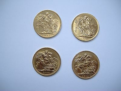 4 x full gold sovereigns various dates