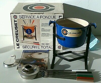 Le Creuset Fondue Set blue forks burner and box