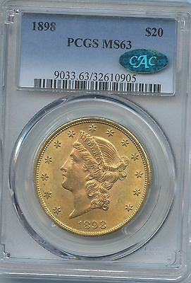 1898 $20 Double Eagle Gold Coin Graded Ms 63 By Pcgs With A Cac Sticker
