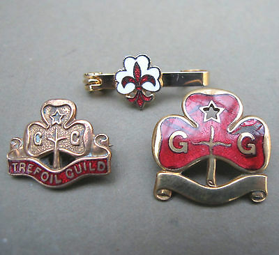 3 Vtg GIRL GUIDE BADGES TREFOIL GUILD Metal BRASS ENAMEL Land Ranger & Tie Pin