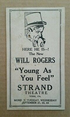 """Will Rogers in """"Young As You Feel"""" Strand Theater,York,Pa.,1931"""