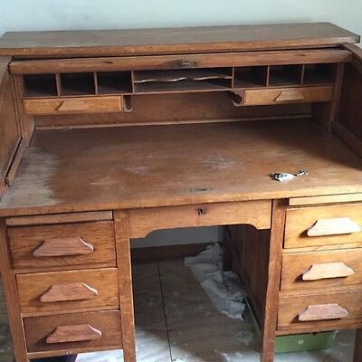 Vintage Oak Roll Top Desk w/Original Swivel Chair