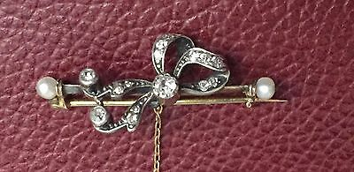 Antique Diamond and Sea Pearl Cluster Brooch by Skinner & Co Victorian Gold