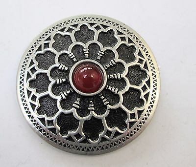 Very large vintage silver metal & agate glass Scottish brooch (St Justin)