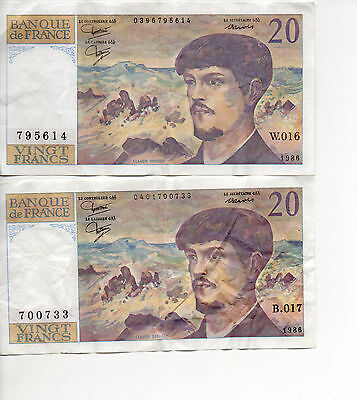 1986 PRE EURO FRENCH 20 FRANC BANKNOTES x 2