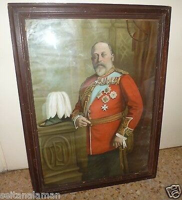 Unique Early Century Color Litho Frame Portrait Edward Vii King Of England
