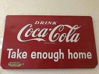 Vintage Original 1940s Coca Cola Sign Drink Coke Double Sided Take Home