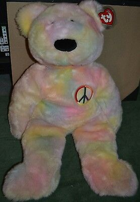 """MWMT Extra Large Ty Dye Peace Beanie Buddy Bear 30"""" with Giant Tag Protector"""