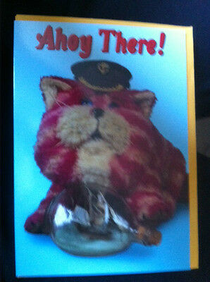 BN AhoyThere with Bagpuss wearing a captains hat and has a ship in a bottle Card