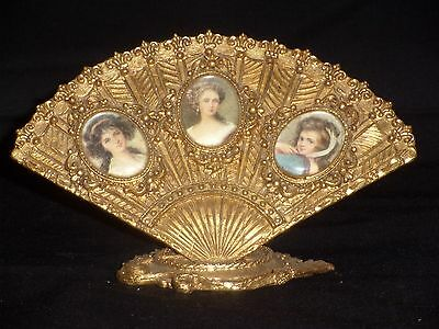 Vintage Miniature Gold Decorated Fan with 3 Victorian Lady Portraits