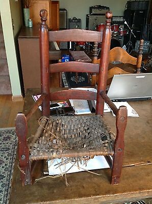 Antique Child's Ladderback Arm Chair 18th century Red Woven seat worn surface