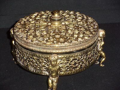 Beautiful Vintage Ormolu or Brass Dresser Powder Jar Trinket Dish w Cherub Putti