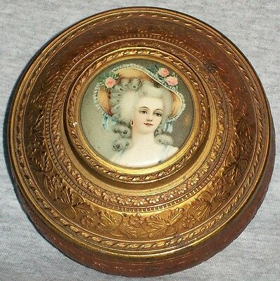 Beautiful Vintage Victorian Lady Portrait Powder Box or Jewelry Trinket Box
