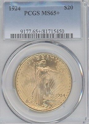 1924 St. Gaudens  $20 Gold Double Eagle Graded Ms65+ By Pcgs