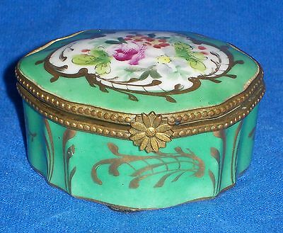 Antique French Porcelain Floral Hinged Trinket Box Dresden Porcelain Green