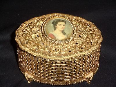 Antique Vintage Ormolu Victorian Lady Portrait Powder Box or Jewelry Trinket Box