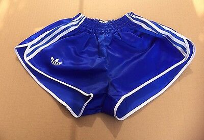 Vintage adidas Sprinter Shorts, Shiny Royal Blue, 3 White Stripes, Size 80 (~S)