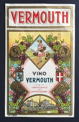 Vintage Italian Vermouth Vino Liquor Liqueur Bottle Label Ephemera 7x4 UNUSED